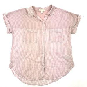 Cloth & Stone Button Down Cap Sleeve Shirt Sz M